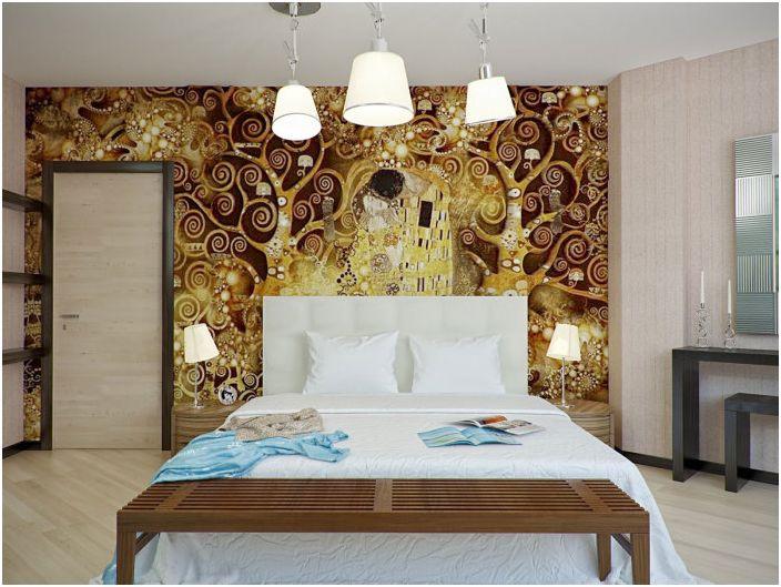 Креативные и в тоже время милые обои, украсят спальню и создадут в ней потрясающую домашнюю обстановку.