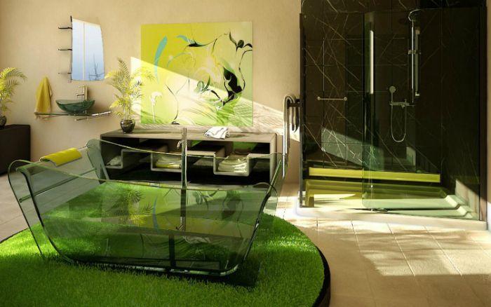 Чиста стъклена вана с ясни контури.