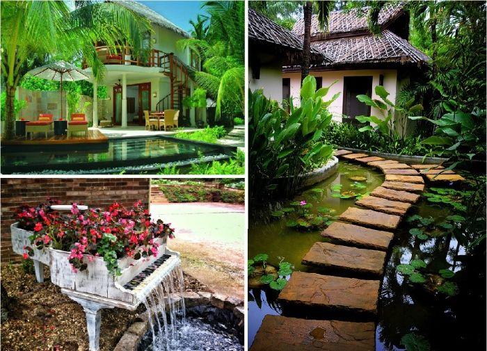 Великолепные водоемы для сада на заднем дворе дома.