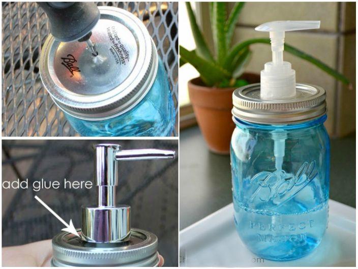 Poręczny dozownik mydła można wykonać ręcznie ze zwykłego szklanego słoika z pokrywką.