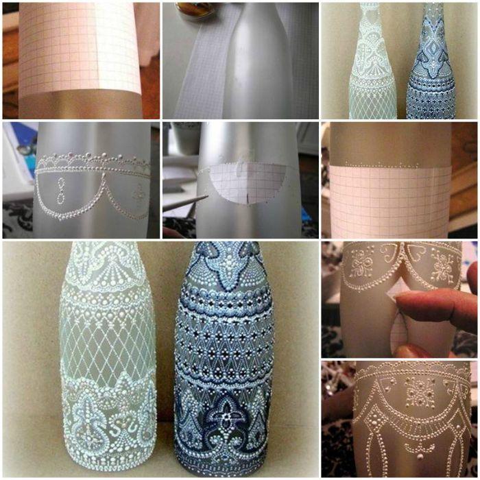 Декорираните бутилки благоприятно ще подчертаят интериора на кухнята.