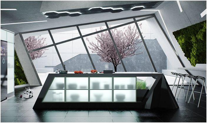 Красив дизайн на модерна кухня с изключителен прозорец.