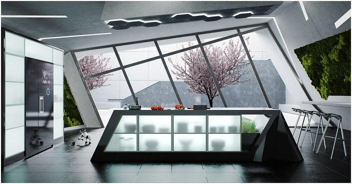 Индивидуален дизайн на модерна кухня с голям, прекрасен прозорец.