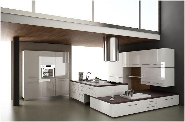 Модерна кухня с мебели в тъмни цветове.