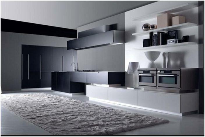 Кухня в черно и бяло в модерен стил.