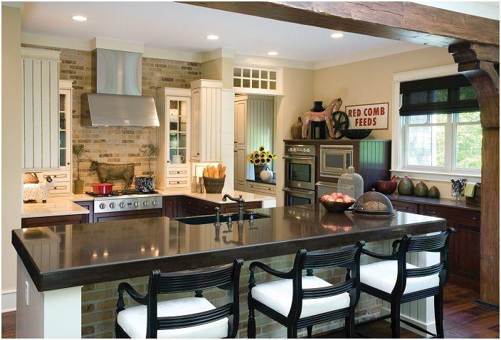 Модерната шик кухня е декорирана с вкус.