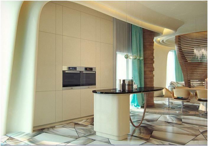 Ултра модерна кухня в нежни цветове с чудесен интериор.