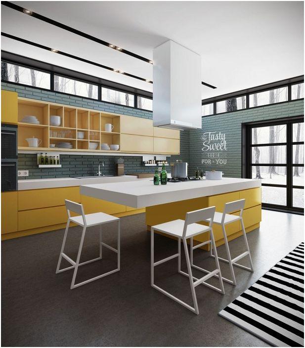 Удобна кухня със сиви стени и жълти мебели.