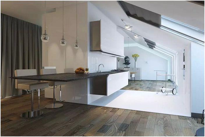 Ултра модерна кухня с красив интериор в черно и бяло.