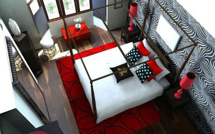 Rødt, svart og hvitt på innsiden av soverommet