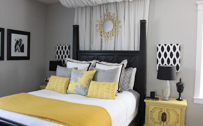Grått og gult på soverommet