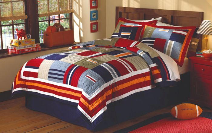 Rødt og blått på innsiden av soverommet