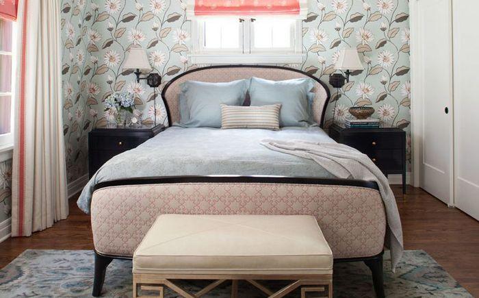 Vintage rosa og grått i soverommet interiør