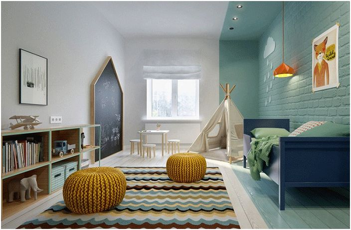 Спалня с модерен дизайн, украсена с wigwam.