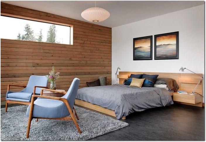 Красив интериор на спалнята с дървена стенна декорация, украсява и създава невероятна атмосфера в стаята.