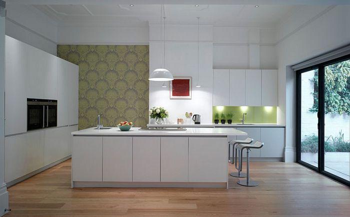 Aksentvegg i det indre av kjøkkenet