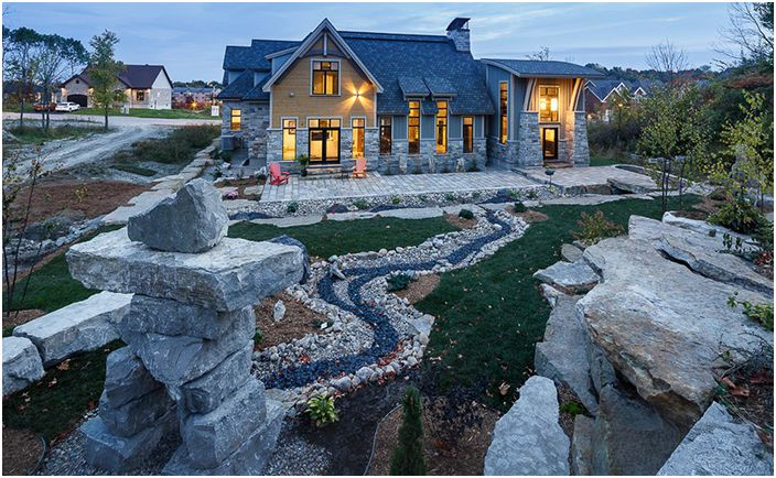 Пейзаж на планинско село, Канада