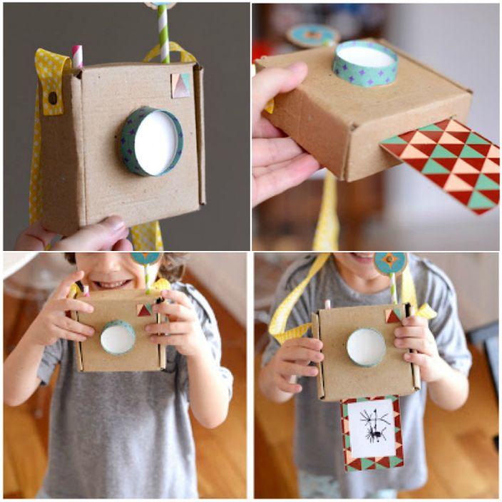 Фотоаппарат из маленькой картонной коробочки.