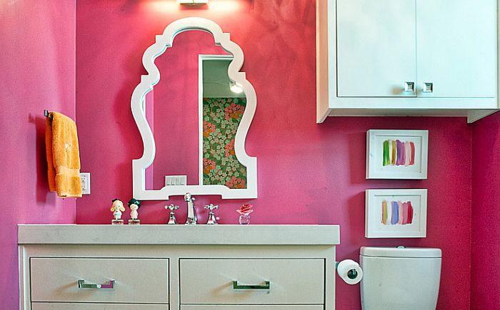Cornerstone Architectsin vaaleanpunainen kylpyhuone