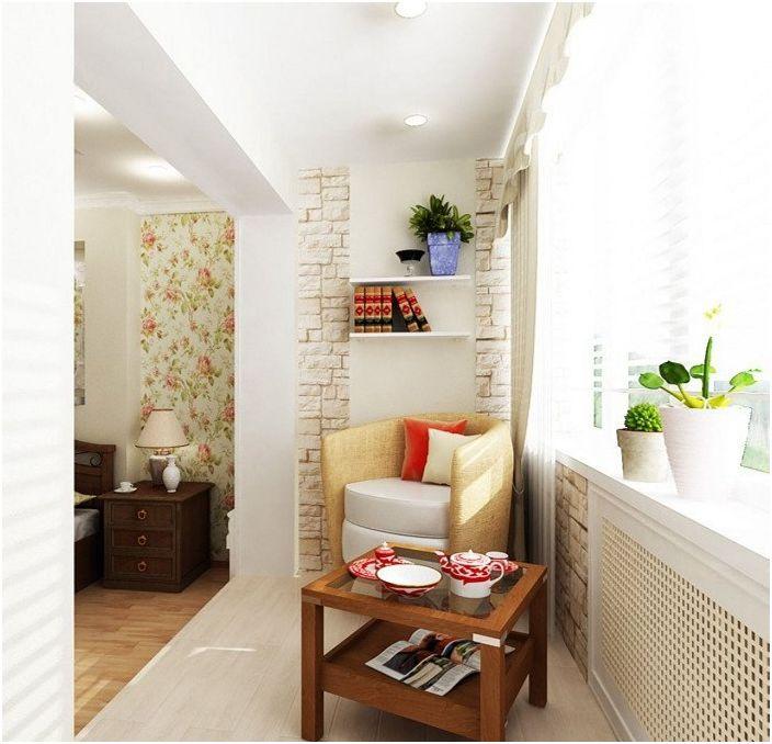 Лоджията, която е комбинирана със стаята, се превърна в чудесно място за пиене на чай.