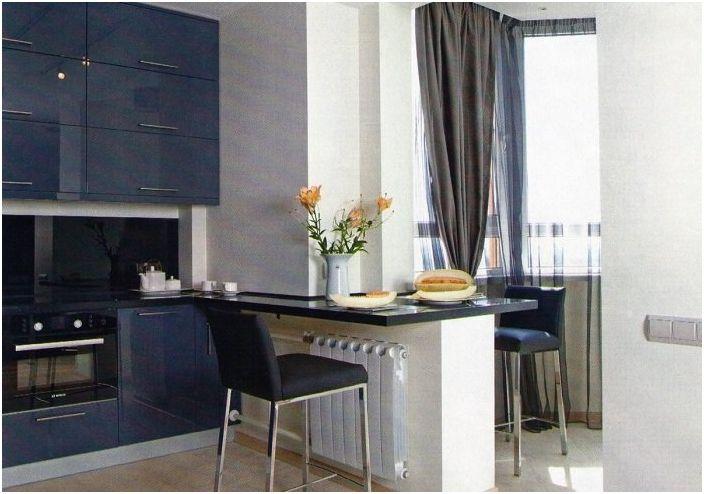 Кухня в красиви сини цветове.