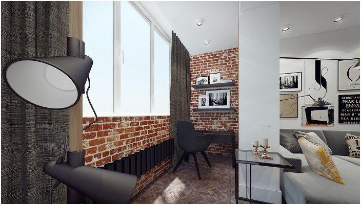 Креативен дизайн на лоджията, която се превърна в прекрасна част от стаята.