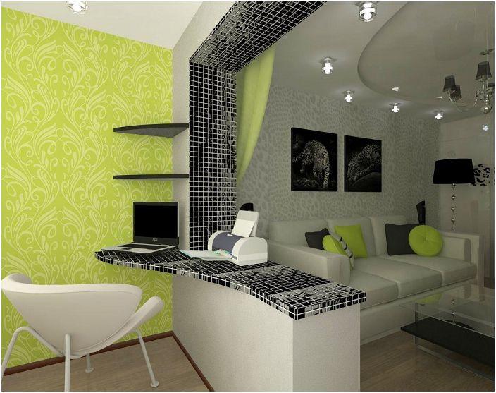Стаята беше разширена с лоджия, което даде възможност да се създаде работна зона там.