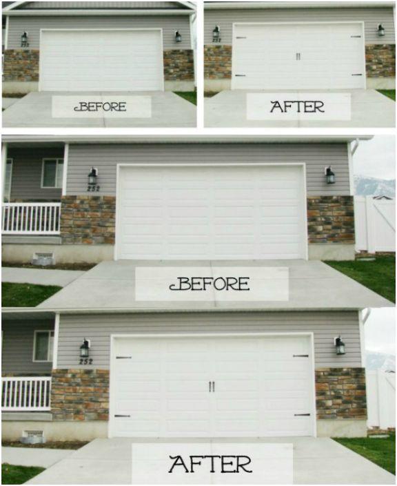Достаточно добавить несколько декоративных элементов, чтобы старая дверь гаража приобрела абсолютно новый вид.
