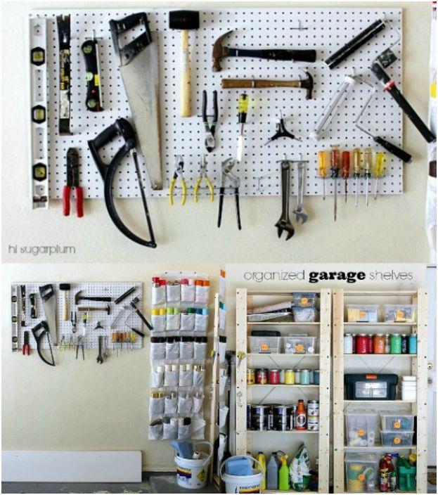 Перфорирани панели и стенни органайзери са идеални системи за съхранение на малък гараж.