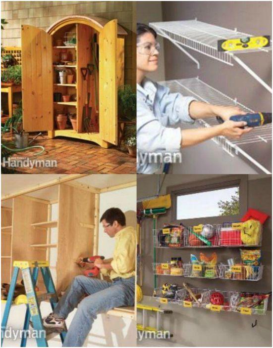 Различные способы организации настенного хранения вещей в гараже.
