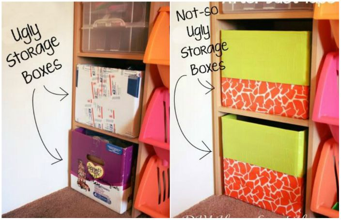 Картонные коробки будут выглядеть более эстетично и аккуратно, если обклеить их цветной бумагой.