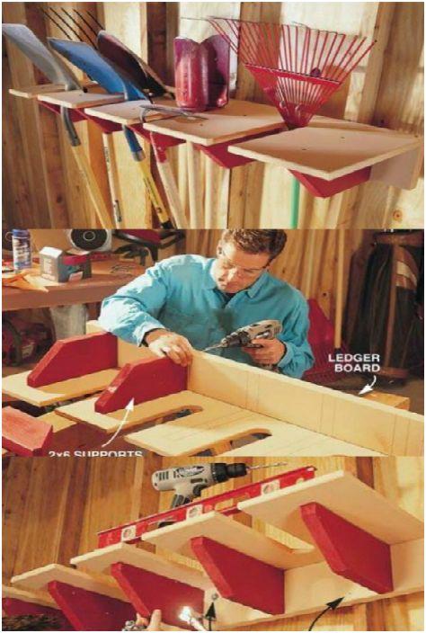Удобная деревянная стойка для садового инструмента, которую можно сделать своими руками.