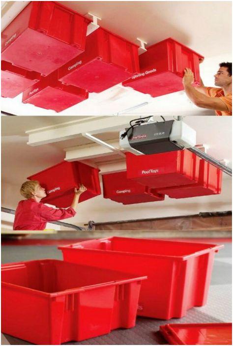 Система хранения под потолком - гениальное решения для небольшого гаража.