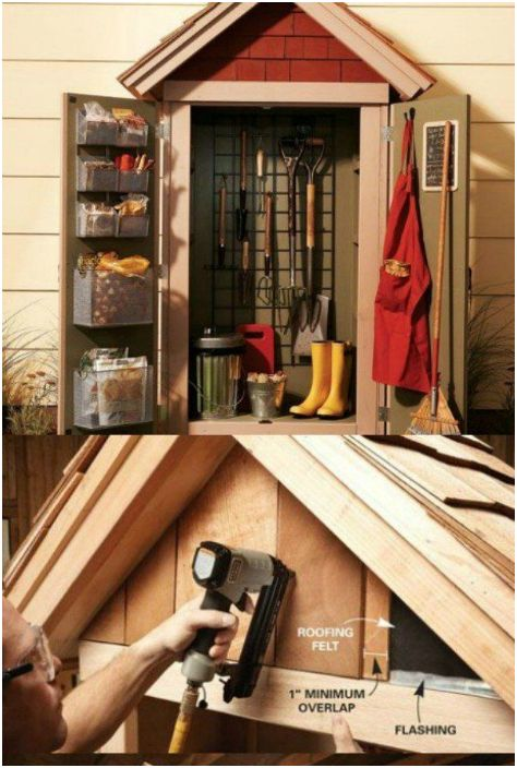 Малък шкаф за съхранение на градински инструменти, който може да бъде окачен на външната стена на гаража.