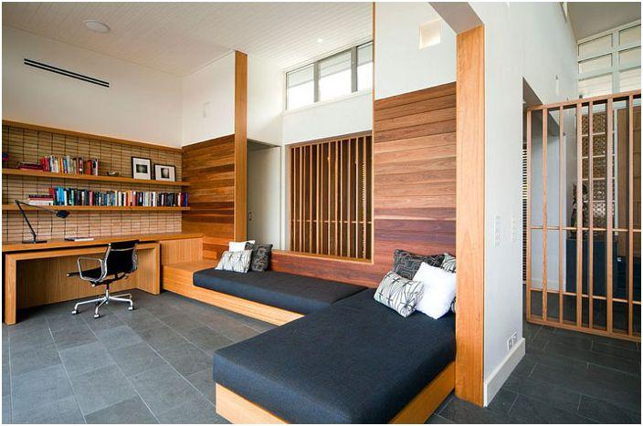 Домашен офис с дивани от Джъстин дълъг дизайн