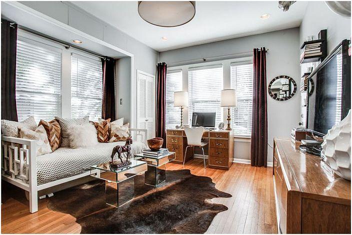 Спалня, офис и хол за интериори на Ашли Бел