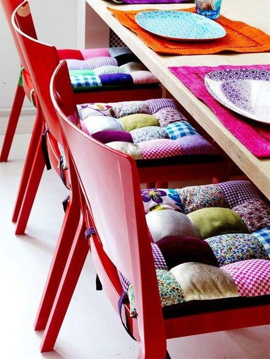 Идея № 12: възглавници за седалки, направени от парчета плат