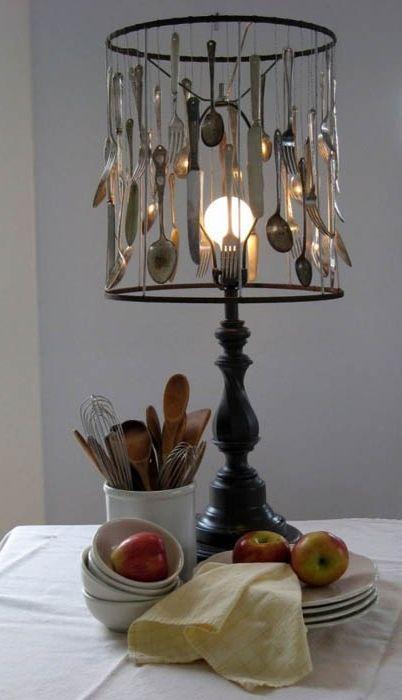 Ovanlig bestick lampskärm.