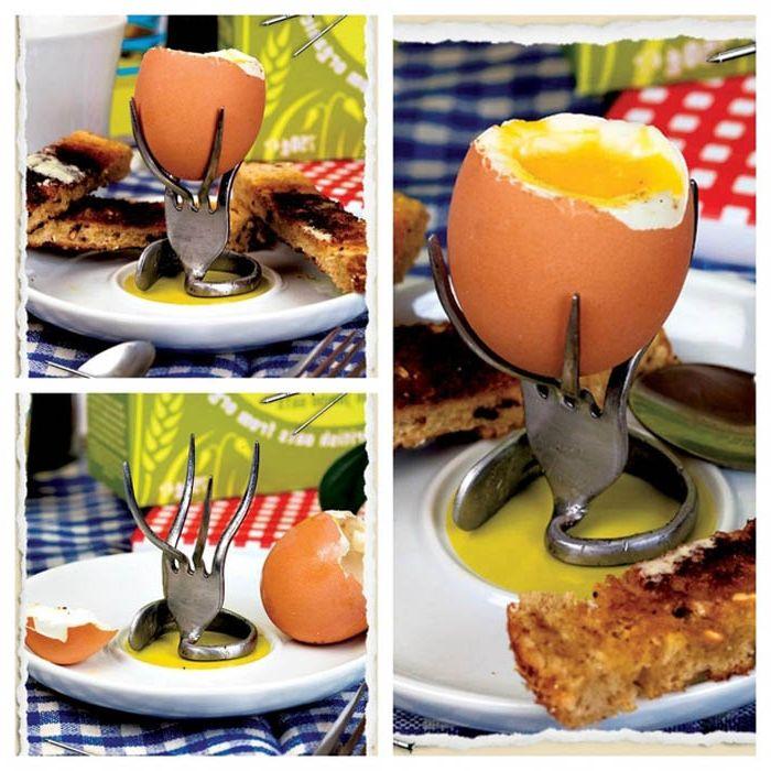 Извит държач за яйце на вилица.