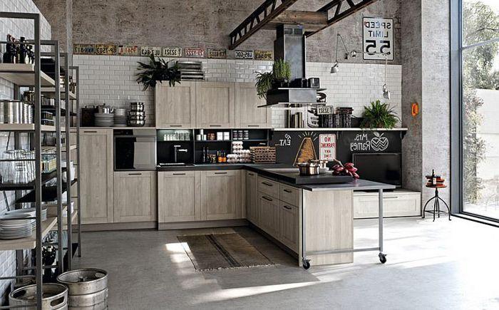 Просторна индустриална кухня от Stosa Cucine