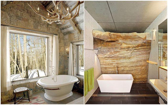 30 oszałamiających łazienek z kamiennymi ścianami dla wszystkich gustów