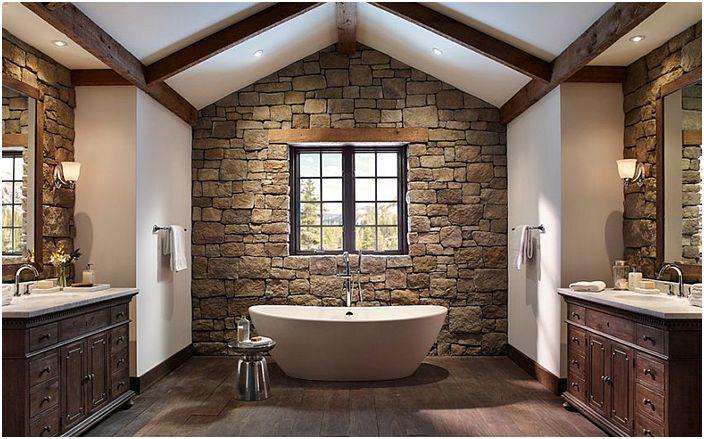 Wnętrze łazienki wykonane przez Eldorado Stone