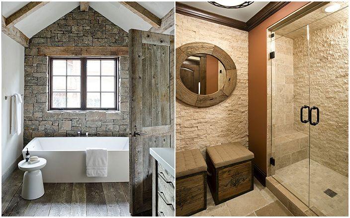 Баня и душ кабина с каменни стени