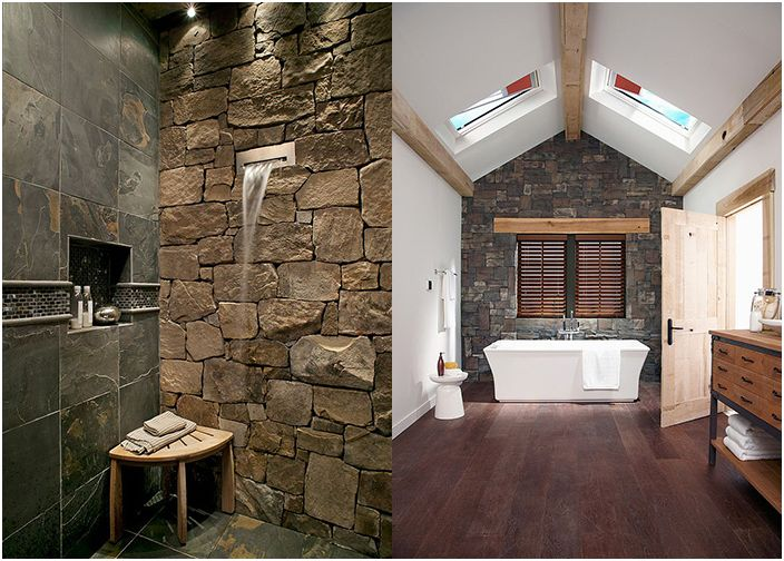 Łazienka i prysznic z kamiennymi ścianami
