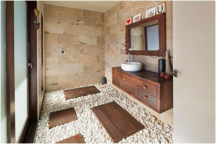 Wnętrze łazienki wykonane przez Henarise Pty Ltd.