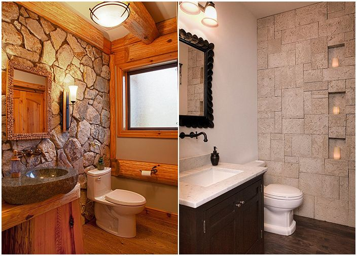 Łazienki z kamiennymi ścianami