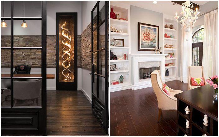 30 luksusowych pomysłów na dekoracje do domowego biura z kominkiem