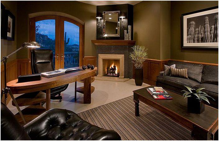 Wnętrze biura domowego autorstwa Ownby Design