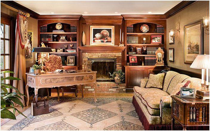 Luksusowe biuro domowe z wbudowanymi szafami