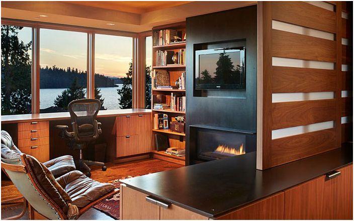 Wnętrze biura domowego autorstwa Sundberg Kennedy Ly-Au Young Architects